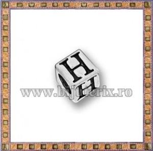 Margica argintie 5.5mm Litera H