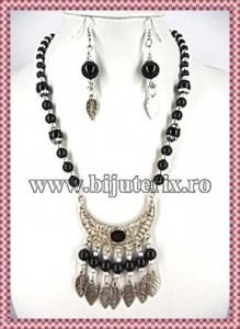 Colier+cercei Amerindian style - negru