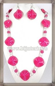 Fuchsia Wave Necklace + Earings