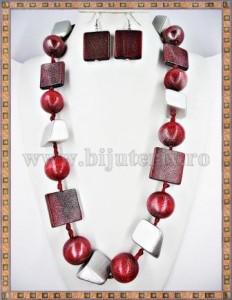 Colier + cercei lemn Silver deep red