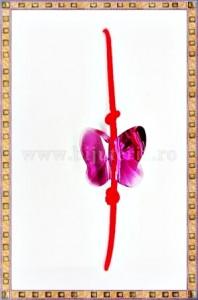 Bratara Lucky charm Fluturas cristal Swarovski 8mm fucsia