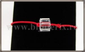 Bratara Lucky charm Cub cristal Swarovski 6mm alb