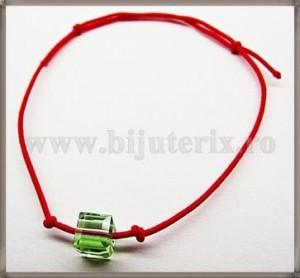 Bratara Lucky charm Cub cristal Swarovski 6mm verde deschis