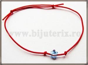 Bratara Lucky charm Floare cristal Swarovski 6mm bleu