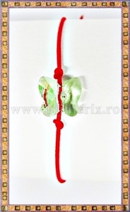Bratara Lucky charm Fluturas cristal Swarovski 10mm verde deschis