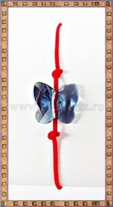 Bratara Lucky charm Fluturas cristal Swarovski 10mm denim