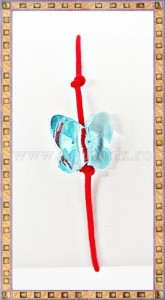 Bratara Lucky charm Fluturas cristal Swarovski 10mm turcoaz