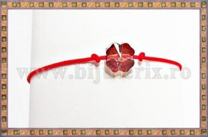 Bratara Lucky charm Trifoi cristal Swarovski 8mm red magma