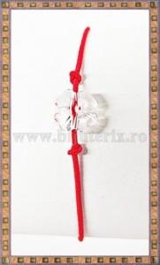 Bratara Lucky charm Trifoi cristal Swarovski 8mm alb transparent