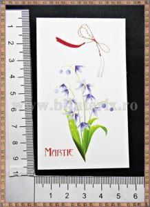 Carton martisor Martie 9x5,3cm - flori albastre - 10buc