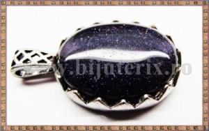 Pandantiv Oval goldstone albastru + snur cadou
