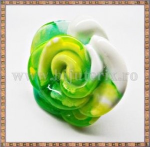 Inel Trandafir verde si galben