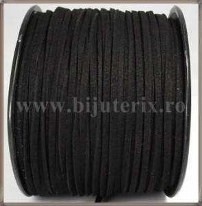 Snur imit. piele intoarsa 3x1,5mm - negru -1m