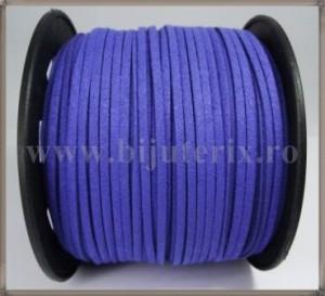 Snur imit. piele intoarsa 3x1,5mm - albastru -1m