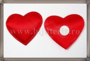 Inimioare satin rosu 6cm - 2buc