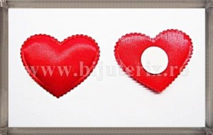Inimioare satin rosu - 3cm - 2buc