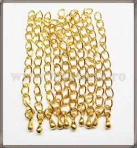 Lant prelungire colier 6cm - cu decor- auriu (10 buc)