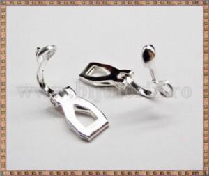 Baza cercei cu clips, bila si agatatoare 10mm - argintiu (2 buc)