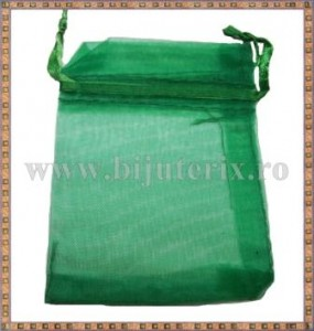 Saculet organza 8,5x7cm verde