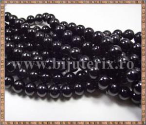 Margele - perle sticla 10mm - negru (10buc)