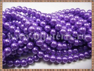 Margele - perle sticla 6mm - mov sidefat (10buc)