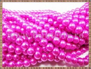 Margele - perle sticla 6mm - roz sidefat (10buc)