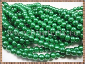 Margele - perle sticla 6mm - verde sidefat (10buc)
