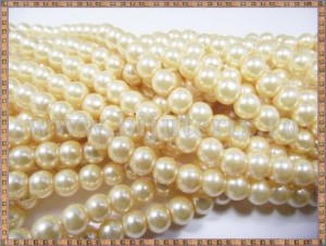 Margele - perle sticla 6mm - galben pal sidefat (10buc)