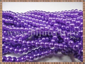 Margele - perle sticla 4mm - mov-lila sidefat (50buc)