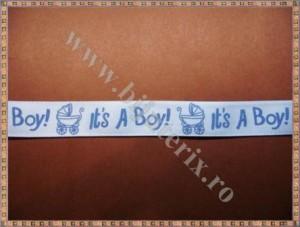 Panglica bleu It's a boy! 1,5cm - 1m
