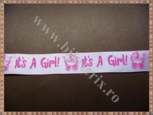 Panglica roz It's a girl! 1,5cm - 1m
