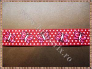 Panglica material textil rips rosu cu fluturasi 1,5cm - 1m