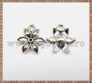Charm Floare 15mm - argintiu 5buc