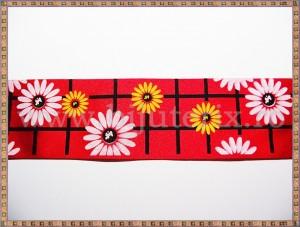 Panglica satin rosu cu flori 4cm - 1m