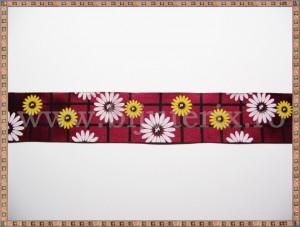 Panglica satin visiniu-grena cu flori 2,5cm - 1m