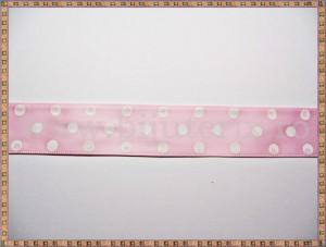 Panglica satin roz cu buline mari albe 2cm - 1m