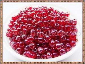 Margele nisip 4mm - rosu transparent (50gr)