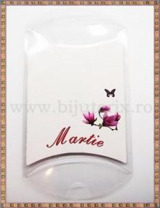 Set carton mic + suport acetofan - Martie flori mov - 10buc