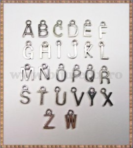 Charm litere - alfabet (26 litere) - argintiu