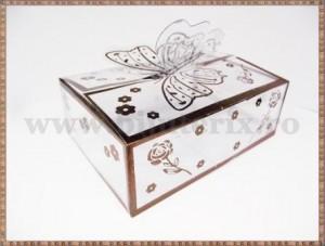 Cutie acetofan - filigran maro cu fluturas 9x6,5x3cm