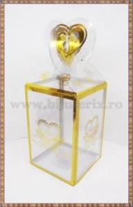 Cutie acetofan - filigran auriu cu inimioare 11x4cm