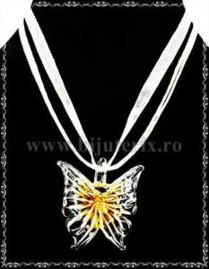 Pandantiv Fluture sticla - galben