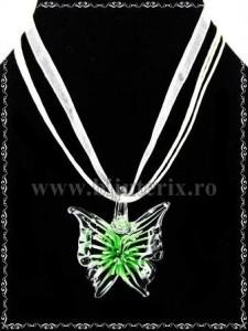 Pandantiv Fluture sticla - verde