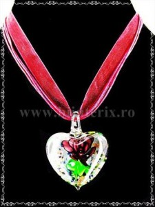 Pandantiv Murano Hearts & flowers - visiniu