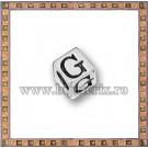 Margica argintie 5.5mm Litera G