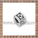Margica argintie 5.5mm Litera E