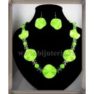 Electric green Wave Necklace + Earings