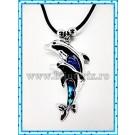 Colier 2 x Dolphin - sidef albastru
