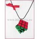 Colier Cub Rubik - funda rosie