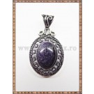 Pandantiv oval filigran goldstone albastru + snur cadou